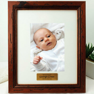 Baby Personalised Photo Frame 5x7 Mahogany Wood - Unique Baby Gift