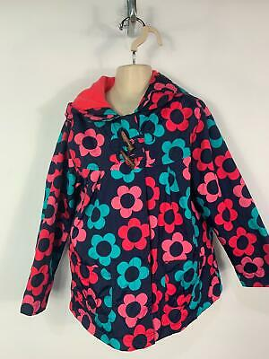 Girls Mothercare Blue Flower Light Weight Zip Rain Coat Hood Kids Age 6/7 Years