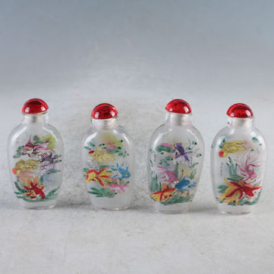 4PC Exquisite China Glass Inside Painting Lovely Goldfish Snuff / Perfume Bottle