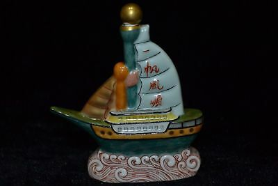 Collectible Chinese Old Porcelain Handmade Carved Boat Statue Snuff Bottle