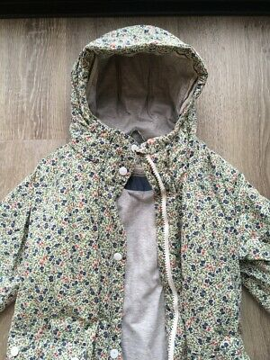Girls NEXT floral print puffa style winter coat with hood age 9