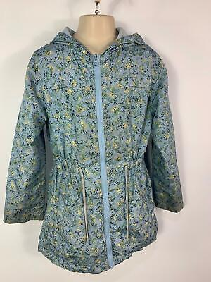 Girls F&F Blue Flower Pattern Light Weight Rain Coat Jacket Kids Age 9/10 Years