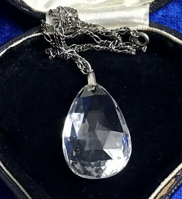 Stunning Large Antique Art Deco Real Silver & Quartz Pendant & Chain