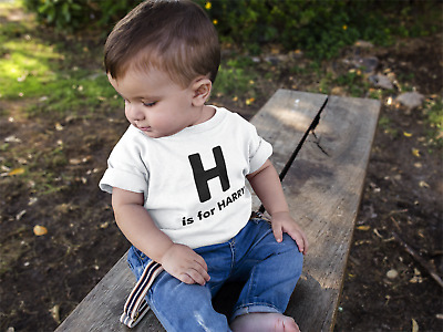 Personalised Baby Kids Name Initial T-Shirt Custom Toddler Shirt Personalized