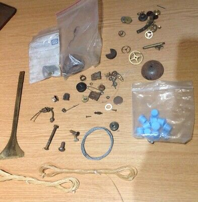 Antique Clock Parts Cord Wires Screws Wheels Bell Clockmakers Spares Collection