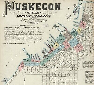 Muskegon, Michigan~Sanborn Map©sheets made in 1883~~ 32 maps on a CD