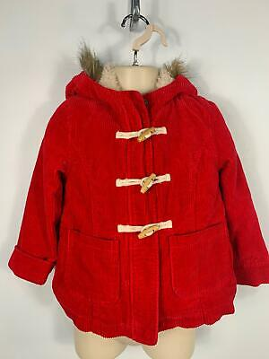 Girls Mini Boden Bright Red Winter Hood Jacket Corduroy Coat Kids Age 5/6 Years