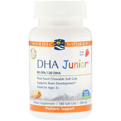 New DHA Junior® 250 mg, Strawberry Flavor - 180 Soft Gels by Nordic Naturals
