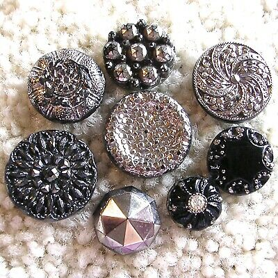 Eight gorgeous antique black glass buttons w/silver luster metallic