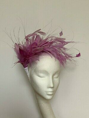 lilac violet feather Fascinator Hat Headband Headpiece Wedding Ascot Derby Races