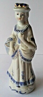 Victorian Lady With Basket Figurine. Gold Gilt, Blue, White Porcelain Statuette