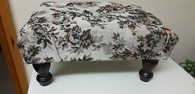 Vintage..retro...small Footstool..with Tapestry Type Fabric...stool..country