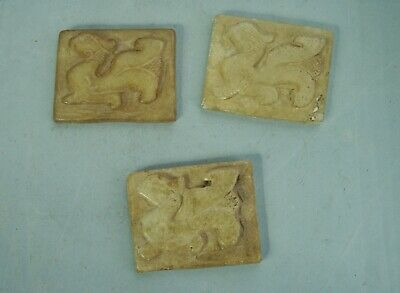 Old Antique Chinese Carved Stone Dragon 3 x Plaques drilled for attachment China