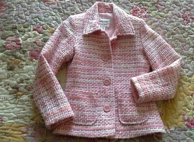 Gorgeous NEXT Girls Wool Blend Jacket Age 5-6 Years Pink/White Excellent con