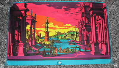 1970 Vintage BLACKLIGHT POSTER The Harbor by Flying Dutchman Press Psychedlic