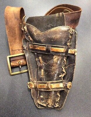 """Antique """"Bunkhouse"""" Made Holster With Belt Lots Of Character"""