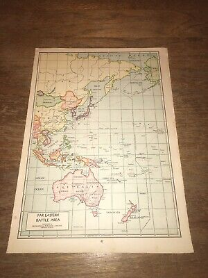 Vintage 1942 Far Eastern Battle Area Atlas Map World War 2 WWII