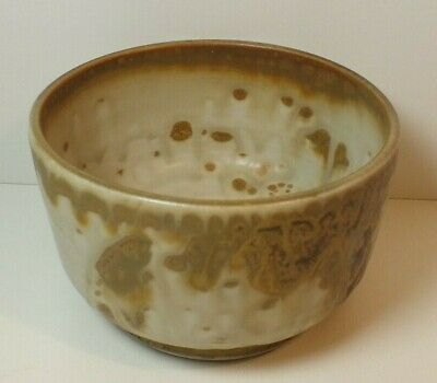 "Louis Mideke 3.5"" Bowl White & Brown Studio Pottery NW Artist Bellingham WA LM3"