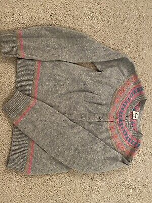 Mini Boden Girls Grey Cardigan With Pink Detailing Age 9-10yrs