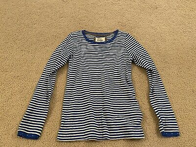 MINI BODEN Girls Pointelle Top Age 7-8Long Sleeve Blue And White Stripes