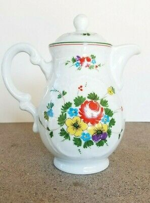 Vintage Bauscher Weiden Bavaria Germany Teapot T 60 White Flowers Red Yellow