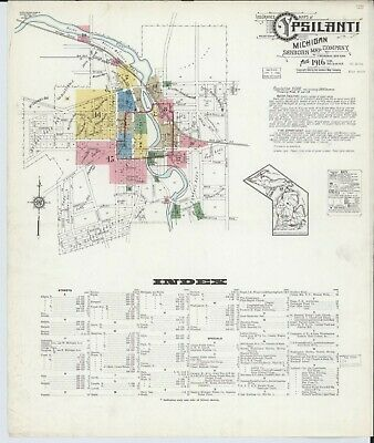 Ypsilanti, Michigan~Sanborn Map©sheets made in 1888 to 1916~62 maps on a CD