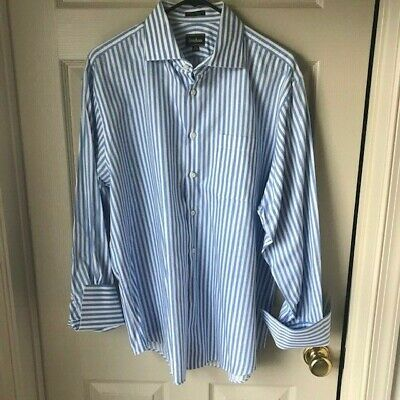 Neiman Marcus Men's Striped Button Front Shirt Blue White Sz 16 1/2  French Cuff