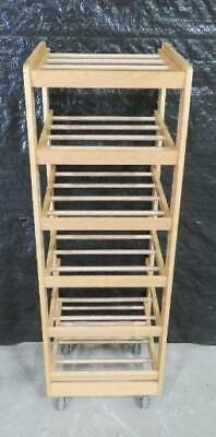 Wood 22x20x66 Display Rack 6 Shelf on Casters restaurant bakery wooden