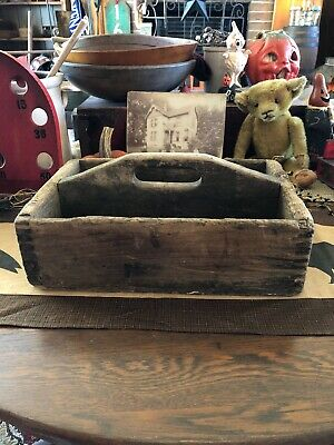 Best Antique Primitive Divided Wood Old Tool Nail Box Tote Carrier AAFA