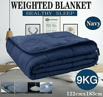 Premium Adult Weighted Blanket 9KG 122x183cm Promote Deep Relax Sleep All Season