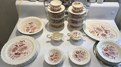 """Red (Pink) Transferware: TAYLOR, SMITH & TAYLOR """"Center Bouquet"""" ~Garland Shape~"""