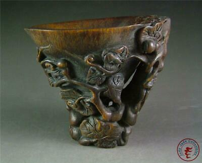 Antique Old Chinese Handcarved Brush Washer Wine Cup Statue Calabash auspicious