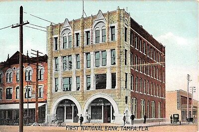 c.1910 First National Bank & Stores Tampa FL post card