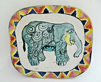 Hand Painted Elephant Folk Art Pottery Plate / Wall Art ~ Signed Suki