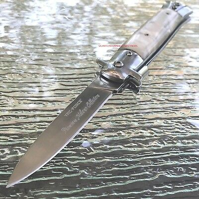 """9"""" TAC FORCE ITALIAN MILANO TACTICAL ASSISTED OPEN PEARL POCKET OPEN KNIFE Blade"""