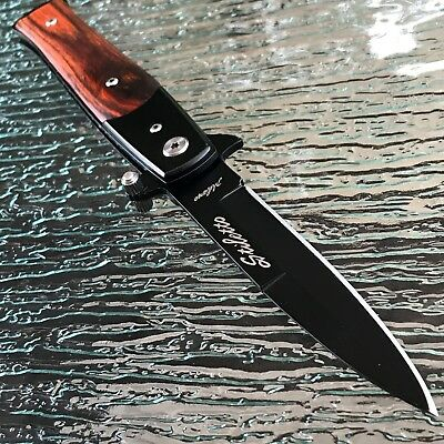 """8.5"""" Assisted Open Tactical Rescue Knives Wood Folding Stiletto Knife Tac Force"""