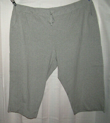 Basic Editions soft, stretchy gray pull on capri pants,pockets, Plus size 3X