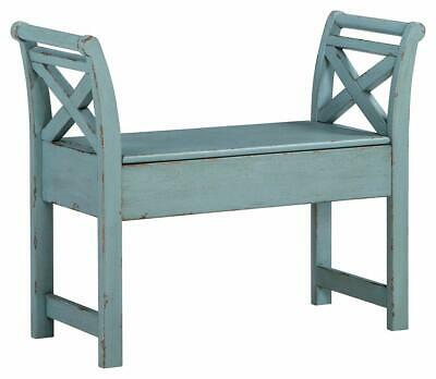 Wooden Storage Accent Hinged Bench Seat for Kitchen Entryway Dining Antique Blue