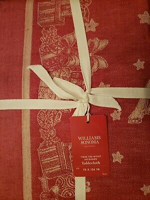 """Williams-Sonoma 90/"""" Round Twas The Night Before Christmas Holiday Tablecloth NWT"""