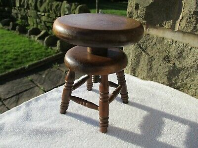 Small Unusual Vintage/ Antique Wooden Adjustable/ Swivel Stool/ Stand