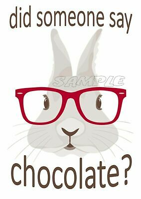 IRON ON TRANSFER / STICKER - RABBIT BUNNY - Did someone say chocolate? Easter