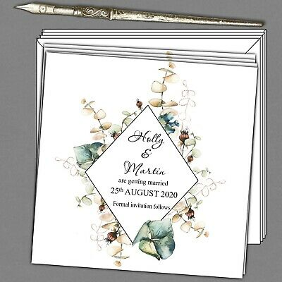 """10 x Personalised Save The Date Cards 6"""" square Modern Botanical + envelopes"""