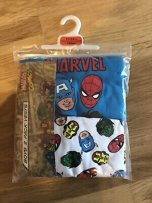 Pack Of Two Pair Of Boys Vests Marvel Characters age 11-12yrs BRAND NEW