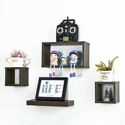 4PCS Floating Shelves Wooden Cube Shelf Wall Storage Display Decor Deep Grey