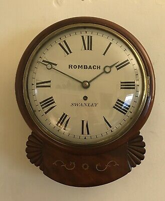 """Antique Drop Dial wall clock.19thC ,signed Rombach Swanley.10"""" convex Dial."""