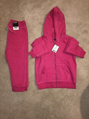 New Girls Pink Hooded Tracksuit Age 2-3