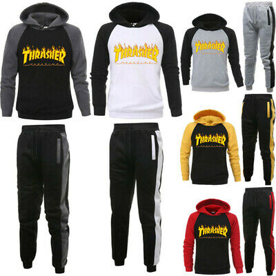 Thrasher Men's Tracksuits Set Hoodie Pullover Bottoms Trousers Jogger Sport Suit