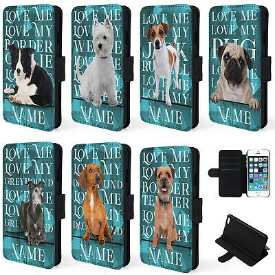 Personalised Dog Breed iPhone Case SE 5 6 Plus Flip Phone Cover Love My Pet KPB