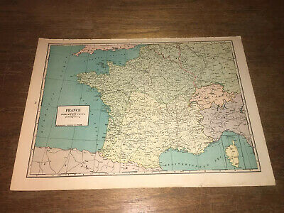 Vintage 1942 Original Atlas Map of France WWII World War 2 German Occupation