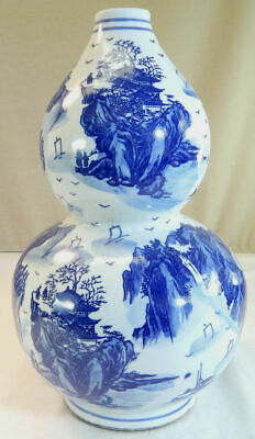 Chinese Blue & White Porcelain Double Gourd Vase with Landscapes